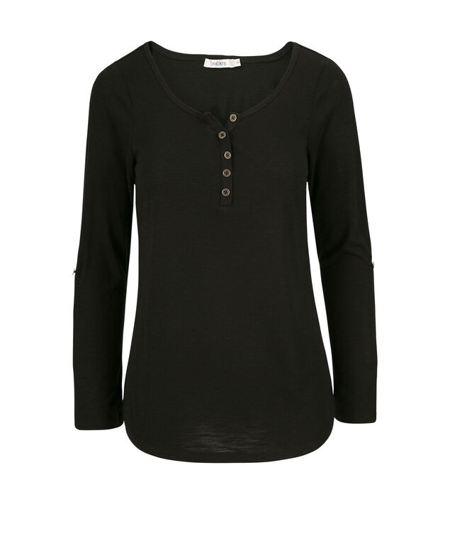 3/4 Sleeve Henley, Black, hi-res
