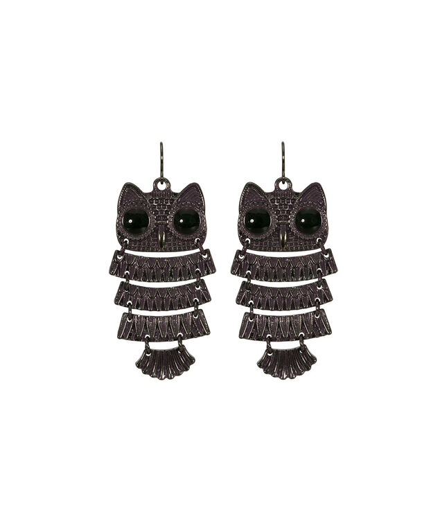 Painted Owl Drop Earring, Blackberry/Hematite, hi-res