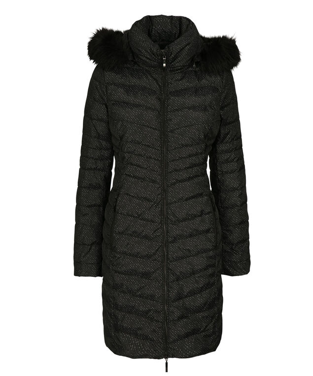 Button Side Puffer Coat, Black/Grey Print, hi-res