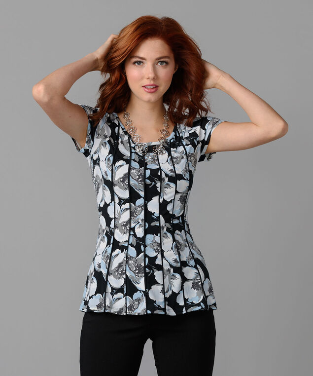 Short Sleeved Seamed Peplum Top, Black Pattern, hi-res