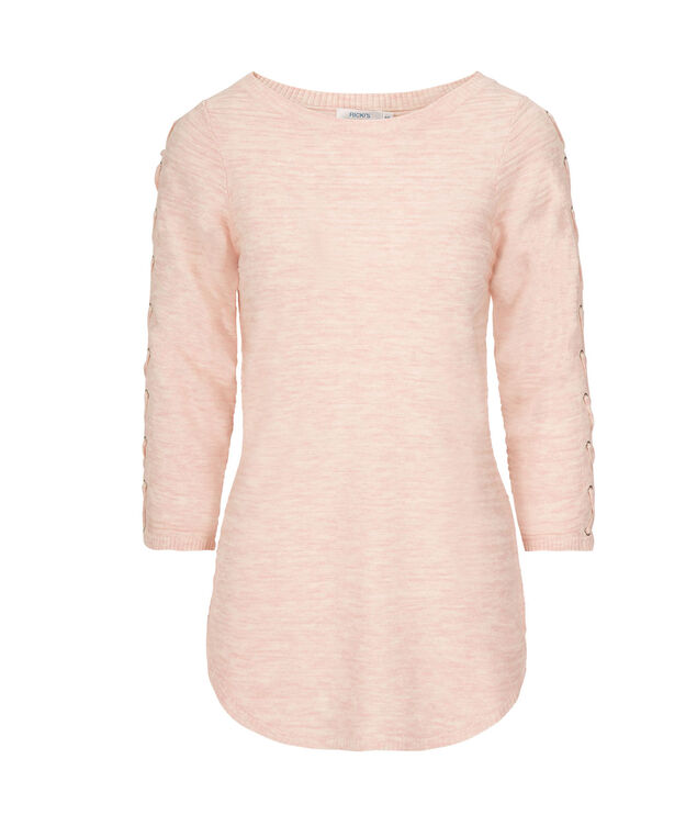 Lace-Up Sleeve Pullover, Apricot, hi-res