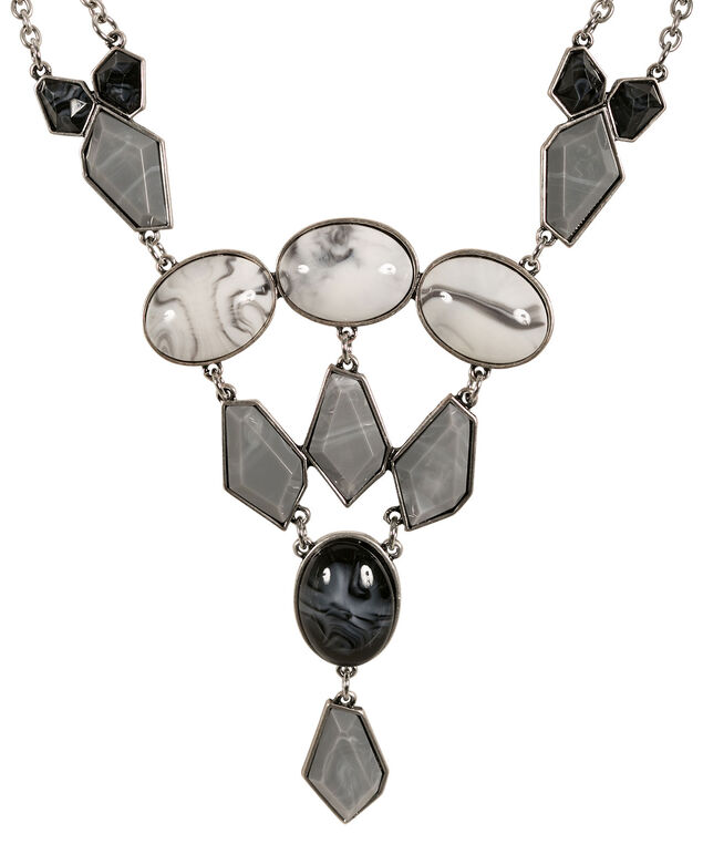 Marble Stone Necklace, White/Grey/Black/Silver, hi-res