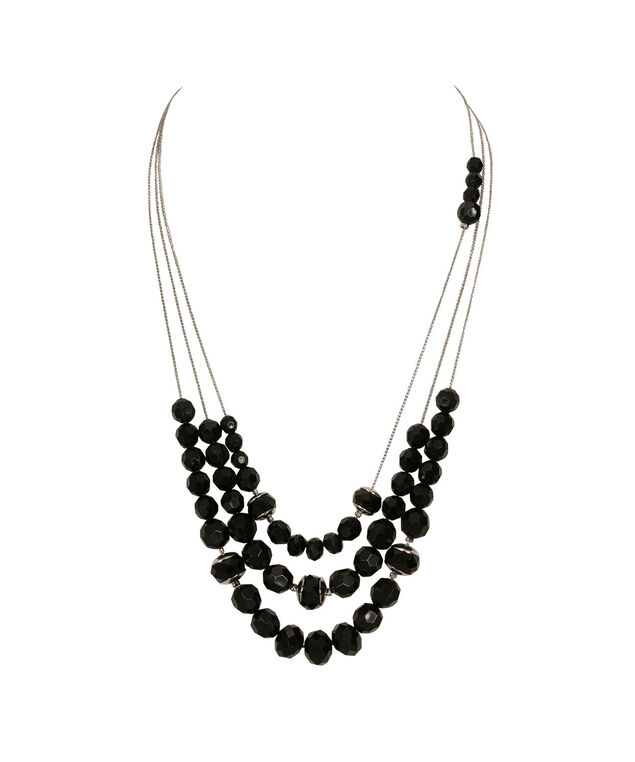 Triple Strand Faceted Bead Necklace, Black/Rhodium, hi-res