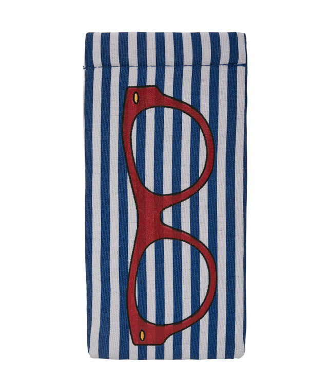 Striped Print Sunglass Case, Navy/Red/White, hi-res