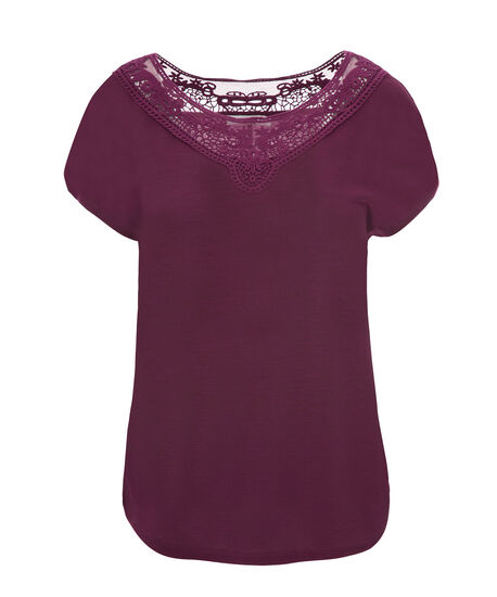 Short Sleeve Crochet Yoke, Plum, hi-res
