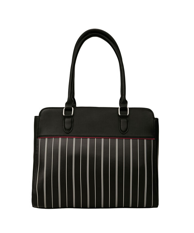 Printed Stripe Satchel, Black/White/Pink, hi-res