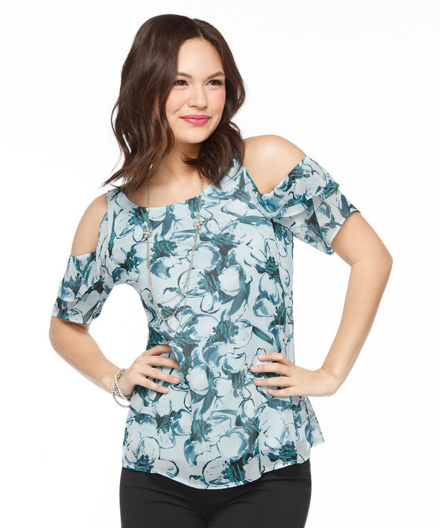 Ruffled Cold Shoulder Blouse, Teal Floral, hi-res