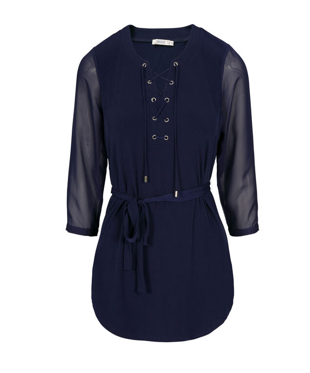 Lace-Up Tunic, Deep Sapphire, hi-res