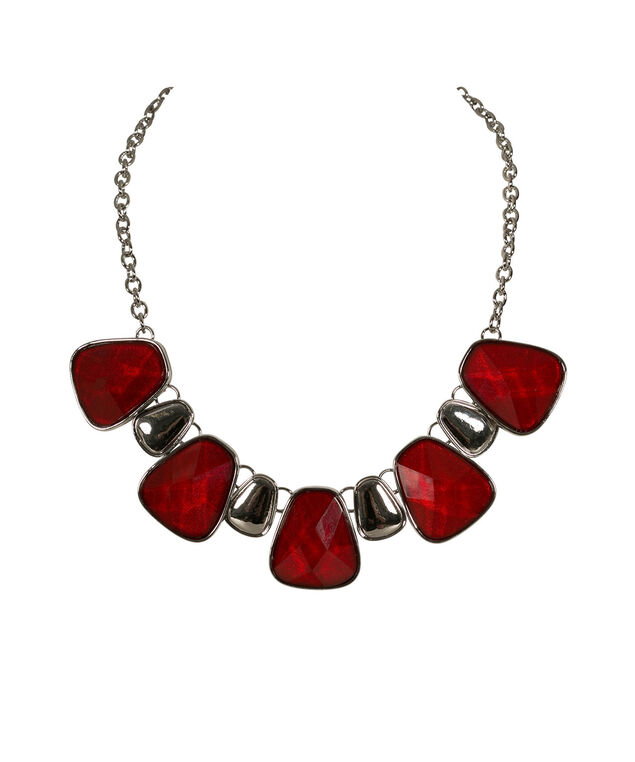 Red Faceted Stone Statement Necklace, Red/Rhodium, hi-res
