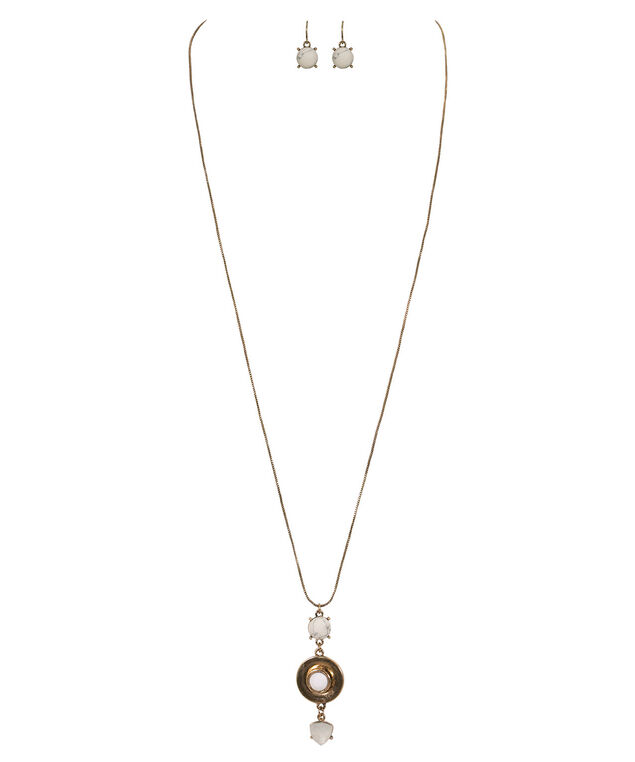 Natural Stone Tiered Disc Necklace Set, White/Gold, hi-res