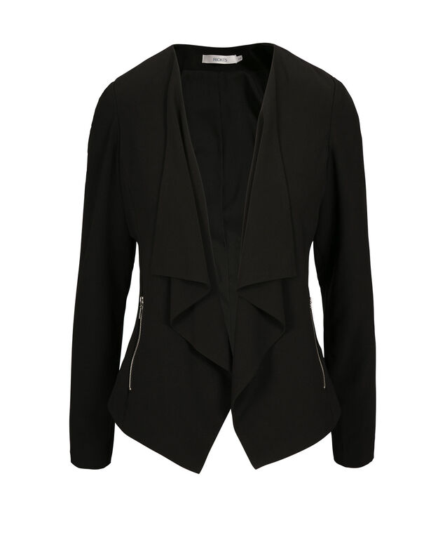 Drape Front Zipper Blazer, Black, hi-res