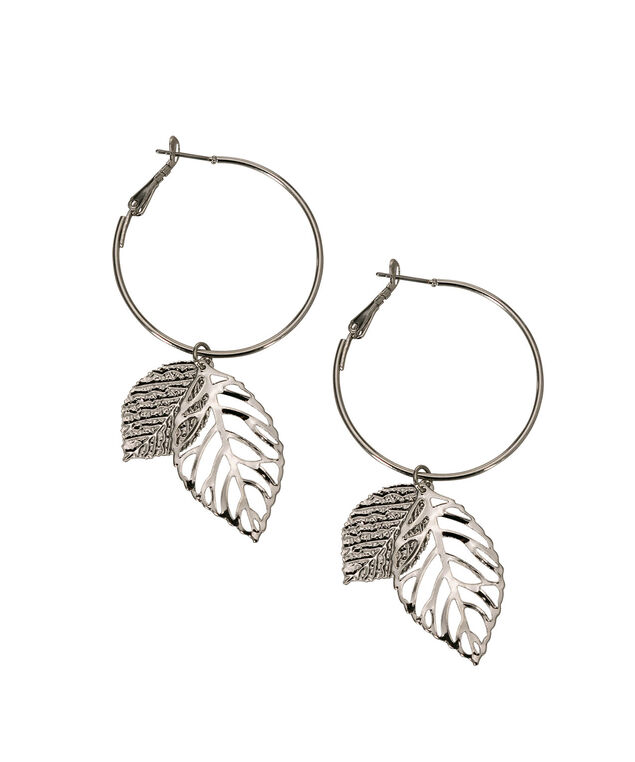 Double Leaf Hoop Earring, Rhodium, hi-res
