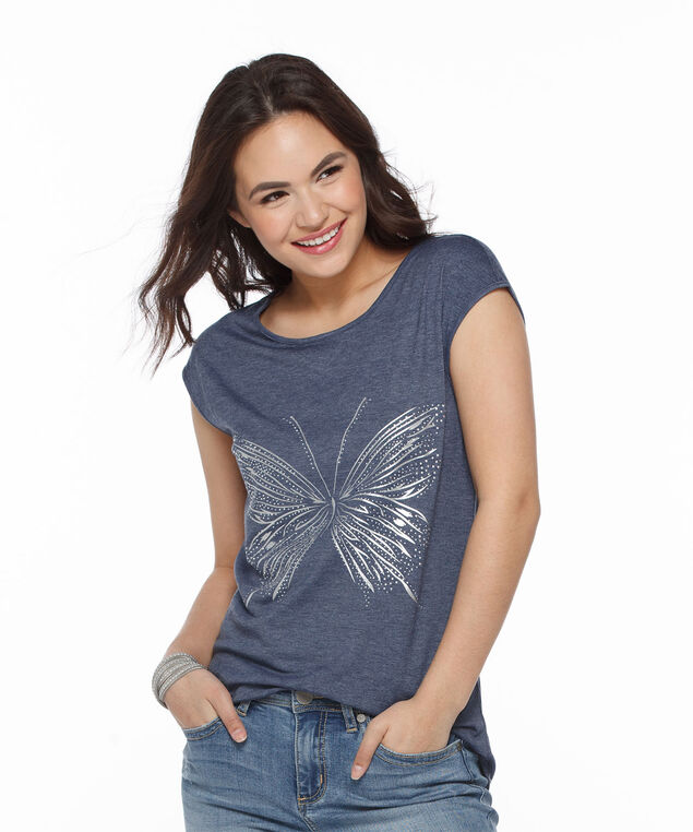 Butterfly Criss-Cross Back Knit Tee, Chambray, hi-res