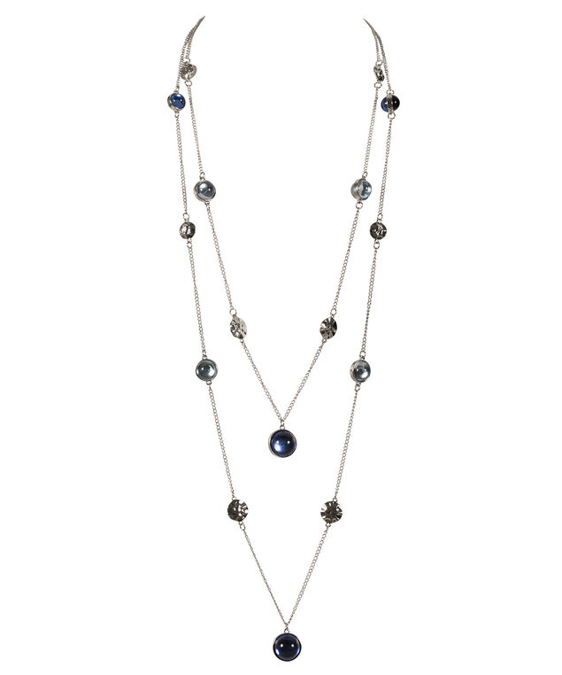 Faceted Stone Necklace, Ultra Blue/Hematite, hi-res