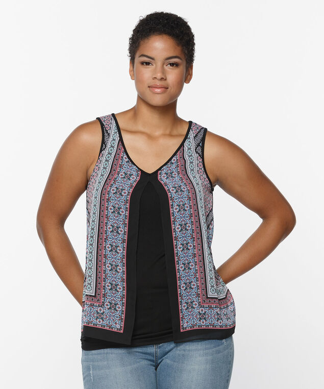 Sleeveless Flyaway Scarf Print Top, Black Pattern, hi-res
