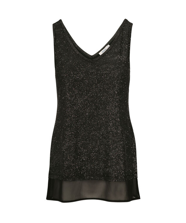 Double V Sparkle Tank, Black/Silver, hi-res