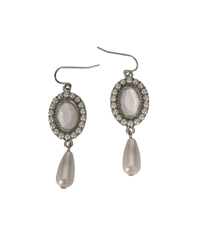 Faceted Stone and Pearl Drop Earring, White/Clear/Rhodium, hi-res