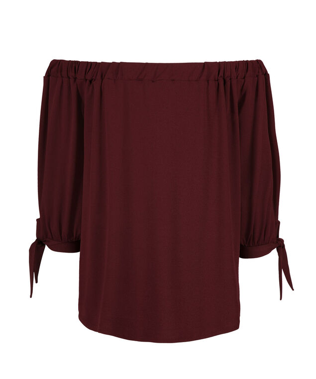 Off Shoulder Tie Sleeve, Burgundy, hi-res