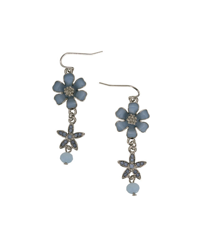 Frosted Blue Floral Drop Earring, Frosted Blue/Rhodium, hi-res