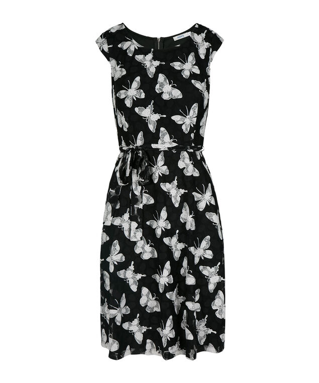 Lace Butterfly Fit & Flare Dress, Black/White, hi-res