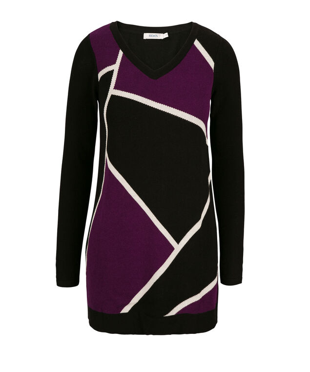 Pattern Tunic Pullover, Ultra Purple/Black/Milkshake, hi-res
