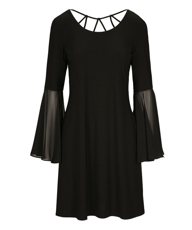 Bell Sleeve Trapeze Dress, Black, hi-res