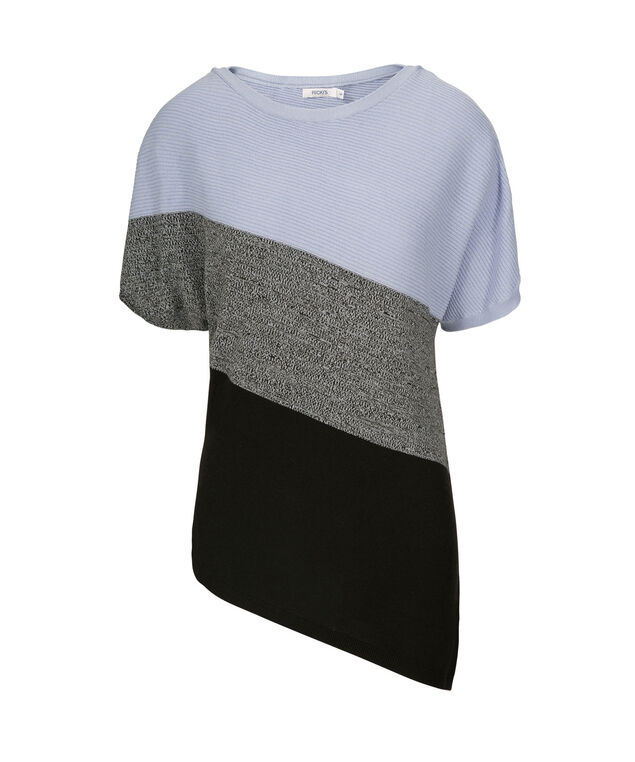 Asymmetrical Ribbed Pullover, Soft Blue/Charcoal/Black, hi-res