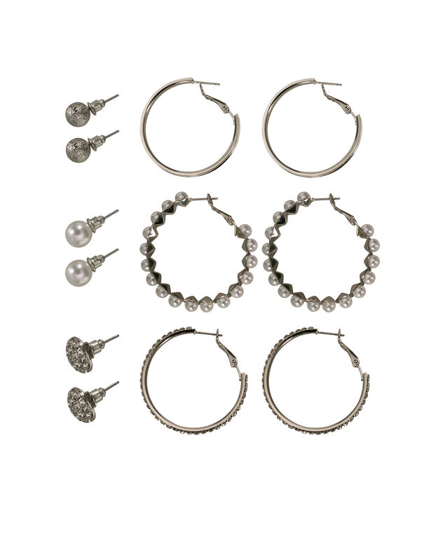 Hoop & Stud Earring Set, White/Clear/Rhodium, hi-res