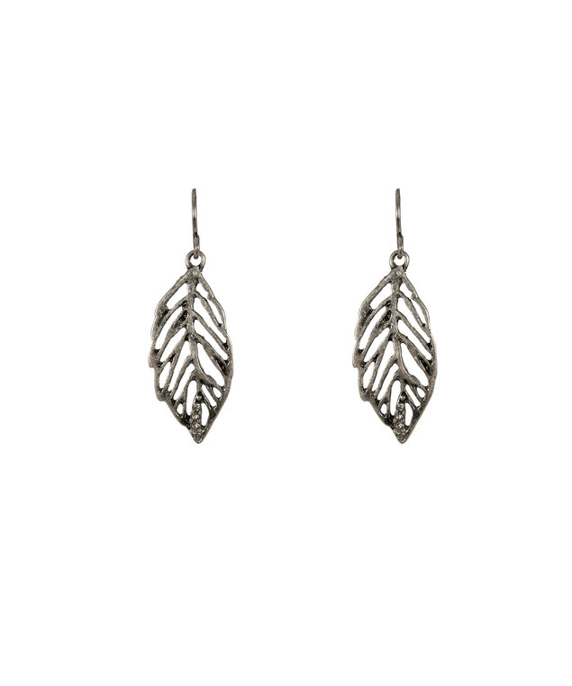 Leaf Crystal Earring, Burnished Silver, hi-res