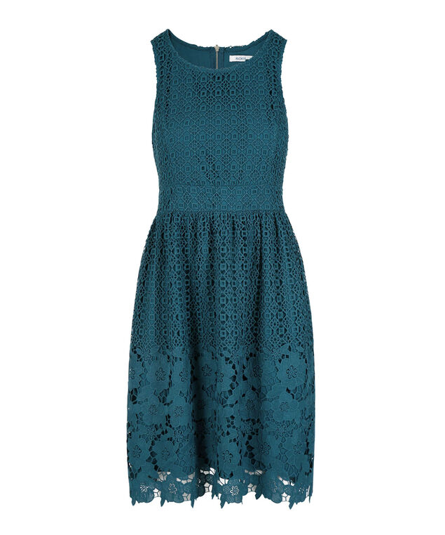 Sleeveless Crocheted Lace Dress, Teal, hi-res