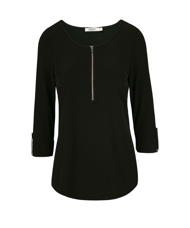 Roll Sleeve Zipper Front Shirt, Black, hi-res