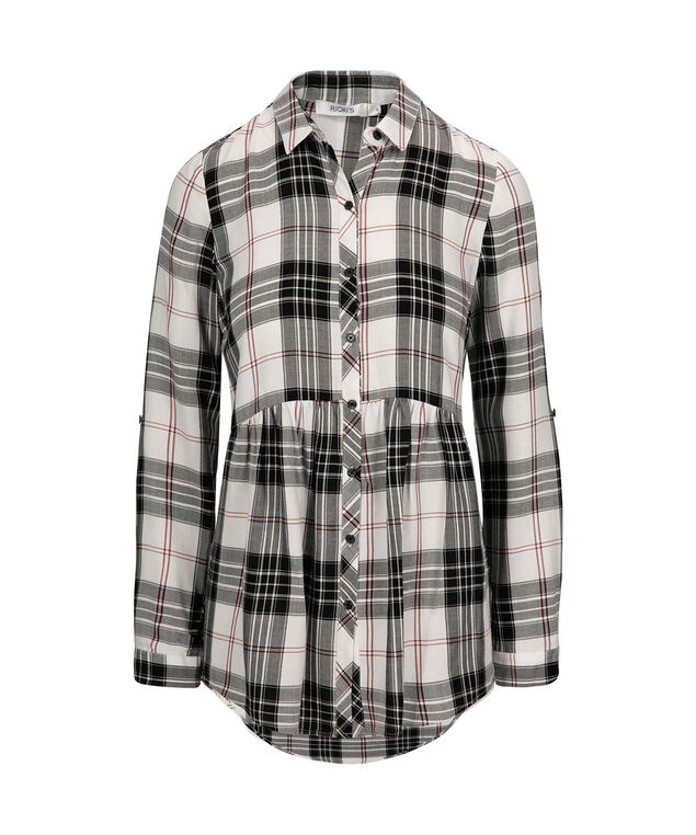 Plaid Collared Button-Up Shirt, Milkshake/Black Plaid, hi-res