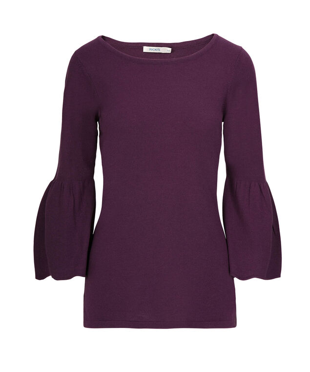 Flounce Sleeve Pullover Sweater, Amethyst, hi-res