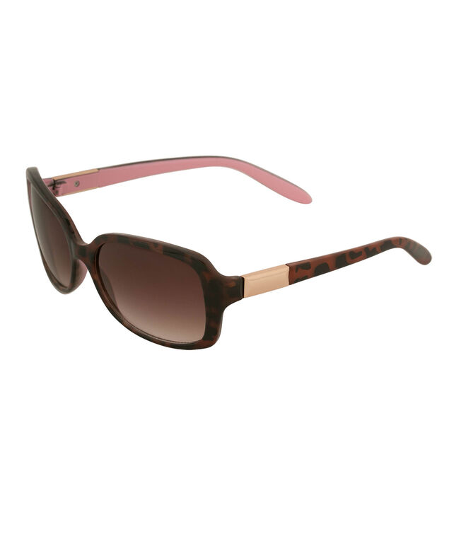 Tortoise Shell Print Sunglasses, Brown/Pink, hi-res