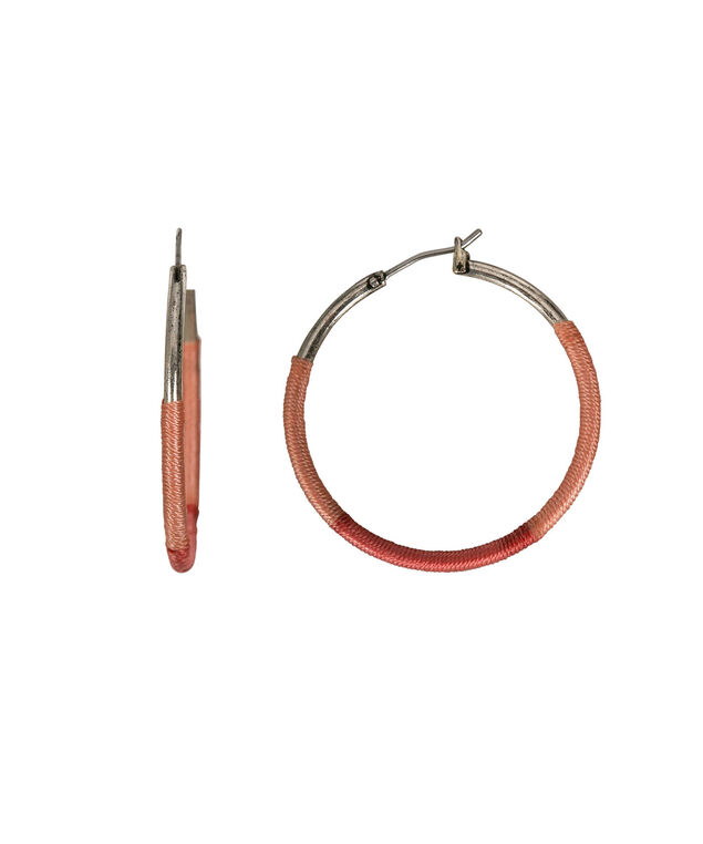 Thread Wrapped Hoop Earring, Coral/Tangerine/Burnished Silver, hi-res