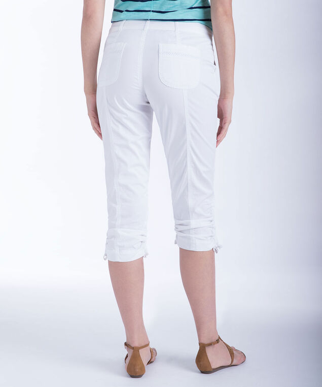 Ric-Rac Trim Ruched Capri, True White, hi-res