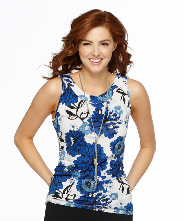 Sleeveless Gathered Neck Knit Tank, White/Blue/Black Floral, hi-res