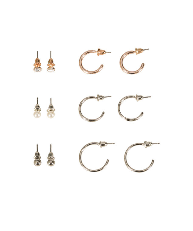 Hoop and Stud Earring Set, White/Clear/Rhodium/Gold, hi-res