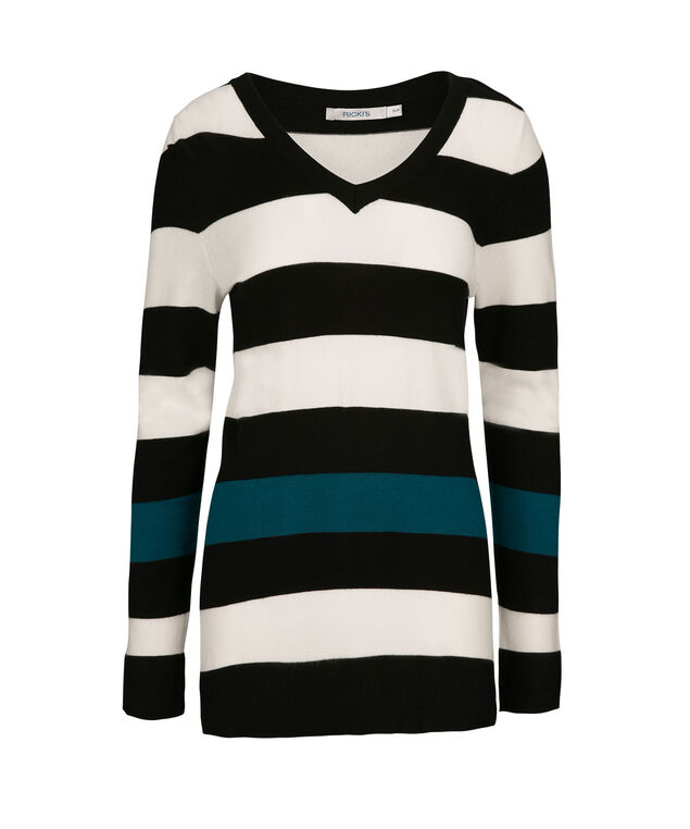 Stripe Novelty Pullover, Black/Milkshake/Teal, hi-res