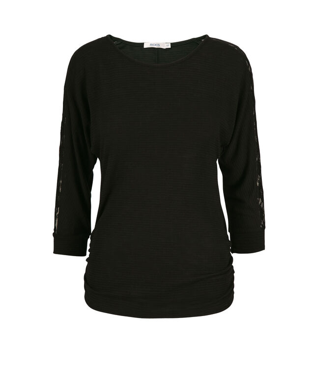 Lace Insert Sleeve Top, Black, hi-res