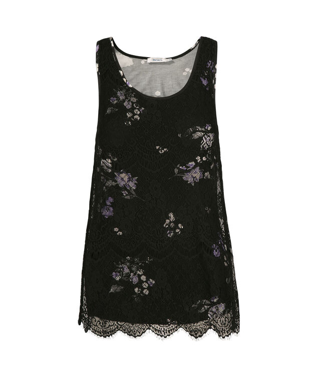 Sleeveless Textured Lace Overlay Top, Black Pattern, hi-res