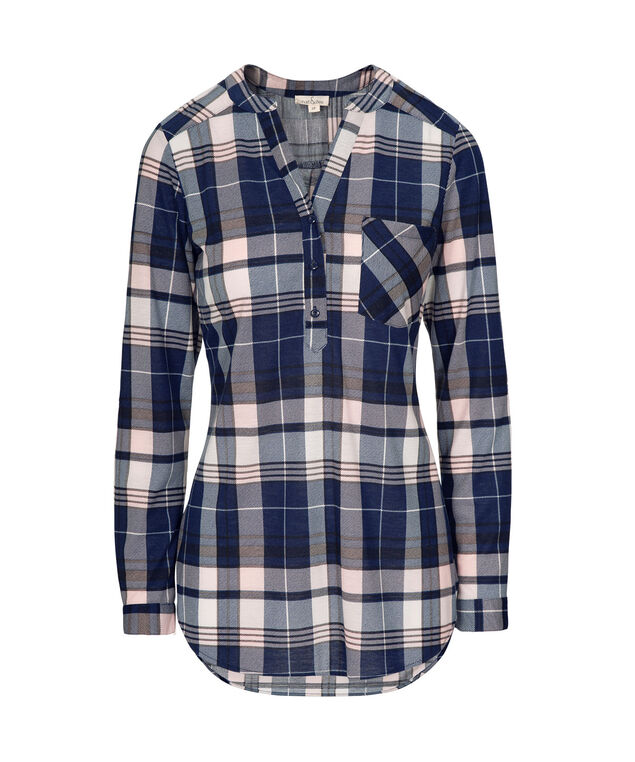 Roll Sleeve Plaid Henley Top, Sapphire/Pink Plaid, hi-res
