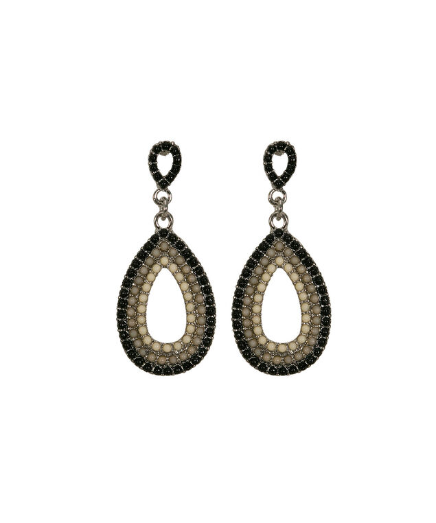 Open Teardrop Beaded Earring, Black/Grey/Milkshake/Rhodium, hi-res