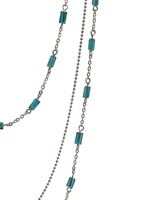 Stationed Rectangular Faceted Bead Necklace Set, Midnight Teal/Rhodium, hi-res