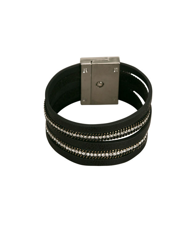 Multi-Row Crystal & Chain Faux Leather Bracelet, Black/Rhodium, hi-res
