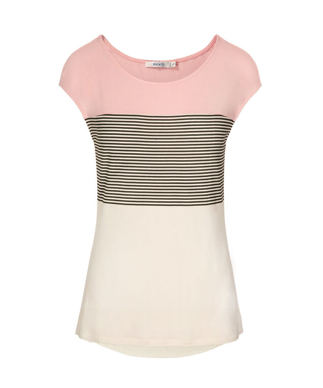 Extended Sleeve Colour Block Tee, Pink/Black/Milkshake, hi-res