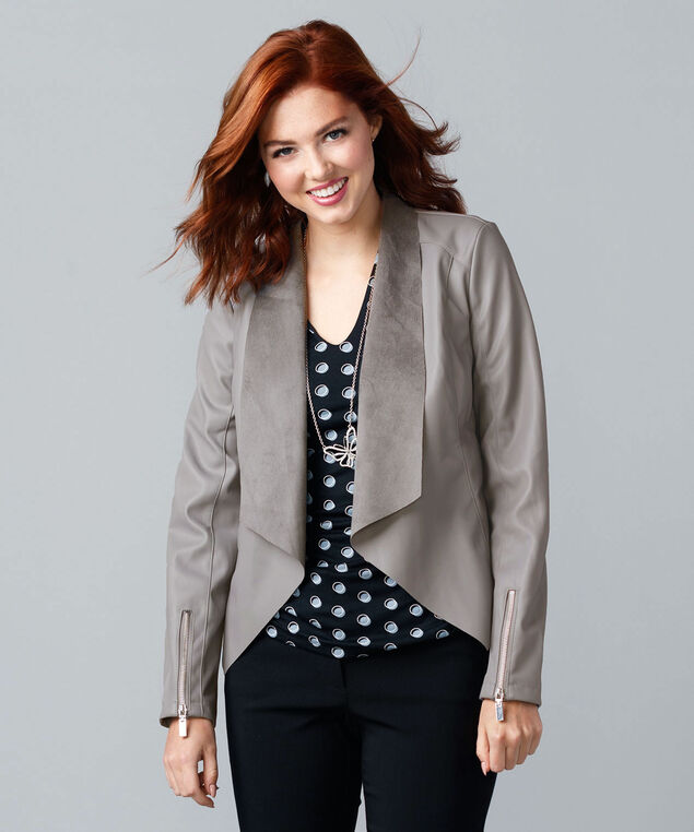 Drape-Front Cropped Pleather Open Blazer, Grey, hi-res