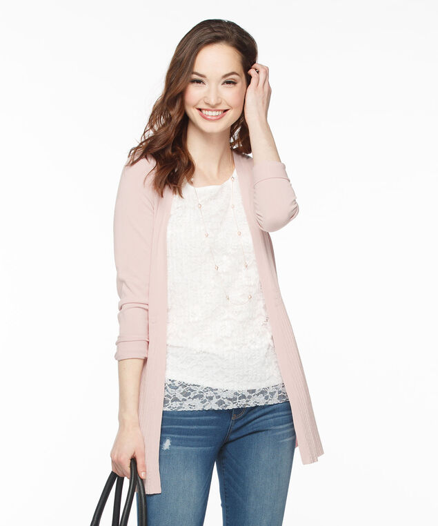 Ribbed Bottom Pointelle Open Cardigan, Rosewater, hi-res