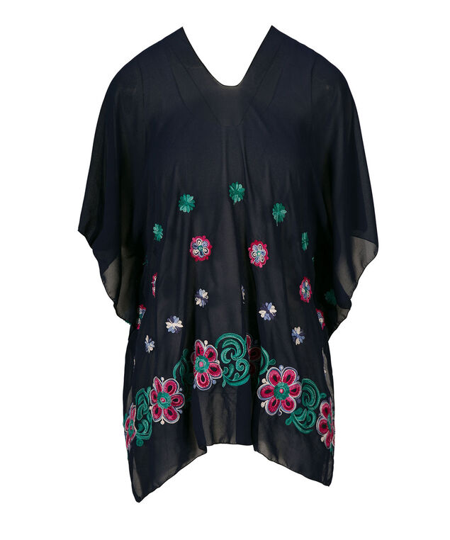 Embroidered Poncho Cover-Up, Deep Sapphire/Aqua, hi-res