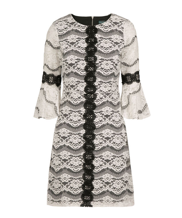Flounce Sleeve Lace Dress, Ivory/Black, hi-res